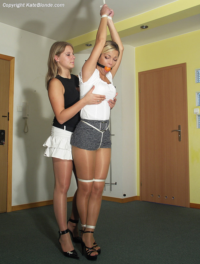 Kate Blonde strung up, ball gagged & fondled by Agnes